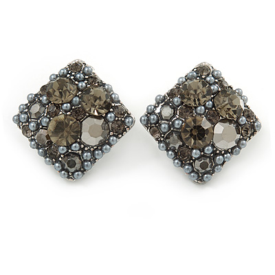 Vintage Inspired Square Grey Crystal, Faux Pearl Stud Earrings In Aged Silver Tone - 23mm
