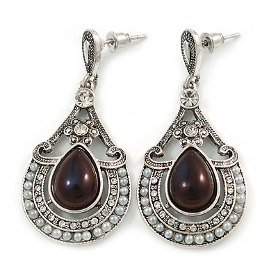 Vintage Inspired Teardrop Crystal, Faux Pearl Dangle Earrings In Aged Silver Tone - 50mm L
