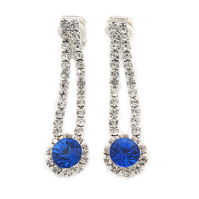 Delicate Sapphire Blue/ Clear Crystal Teardrop Clip On Earrings In Silver Tone Metal - 40mm L