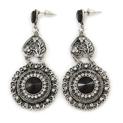 Vintage Inspired Chandelier Clear Crystal Filigree Drop Earrings In Aged Silver Tone - 65mm L