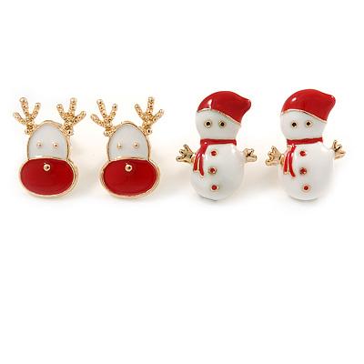 Set of 2 Red/ White Enamel Snowman/ Reindeer Christmas Stud Earrings In Gold Plating - 20mm Length