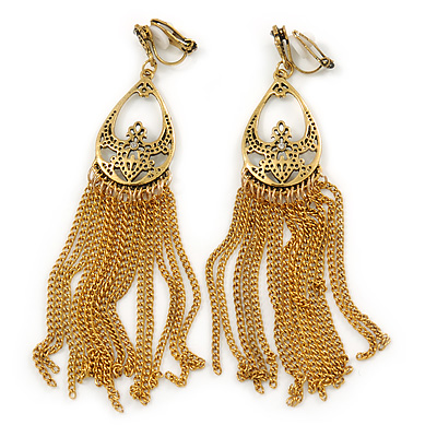 Gold Tone Long Chain Chandelier Clip On Earrings - 90mm L