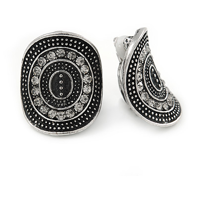 Vintage Inspired Oval Concave Crystal Stud Clip On Earrings In Aged Silver Tone - 25mm L