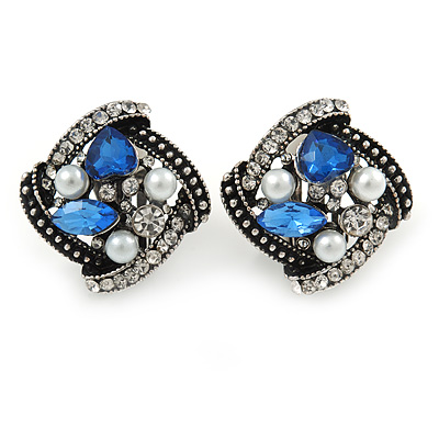 Marcasite Square Blue/ Clear Crystal, White Faux Pearl Clip On Earrings In Aged Silver Tone - 23mm L