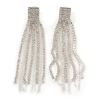 Statement Clear Crystal Tassel Clip On Earrings In Silver Tone - 80mm L