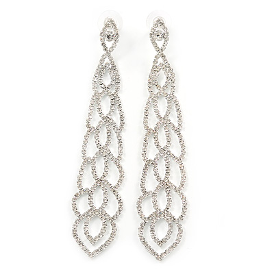 Long Clear Crystal Tie Chadelier Earrings In Silver Tone - 11cm L
