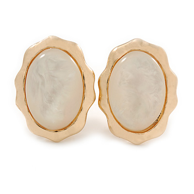 Oval Milky White Glass Stone Clip On Earrings In Gold Plated Metal - 23mm L