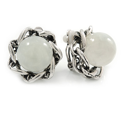 Antique Silver Tone Milky White Glass Bead Floral Clip On Earrings - 20mm D