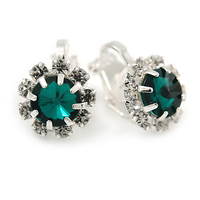 Small Emerald Green, Clear Crystal Floral Clip On Earrings In Silver Tone - 15mm L