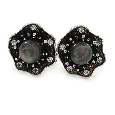 Vintage Inspired Crystal Floral Clip On Earrings In Aged Silver Tone - 20mm D