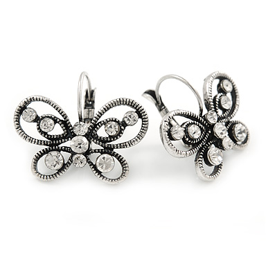 Vintage Inspired Crystal Open Butterfly Drop Earrings In Aged Silver Tone Leverback Closure - 20mm L - main view