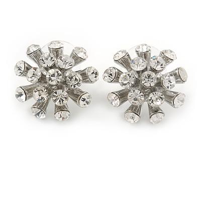 Clear Crystal Snowflake Stud Earrings In Silver Tone Metal - 20mm D