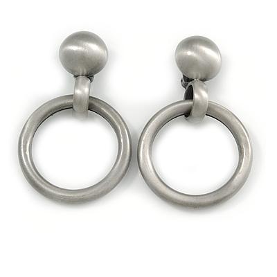 Large Hoop Clip On Earrings In Brushed Pewter Tone Metal - 75mm L