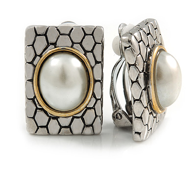 Vintage Inspired Square Faux Pearl Clip On Earrings Silver/ Gold Tone - 23mm L