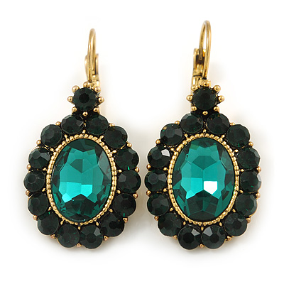 Vintage Inspired Oval Emerald Green Crystal Drop Earrings with Leverback Closure In Antique Gold Tone - 40mm L