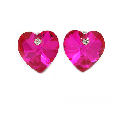 Small Fuchsia Pink Glass Heart Stud Earrings In Silver Tone - 10mm Tall - main view