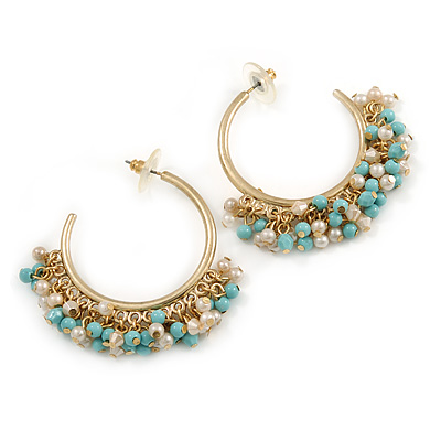 40mm Statement Open Hoop Earrings with White/ Blue Acrylic Bead Fringe In Matte Gold Tone