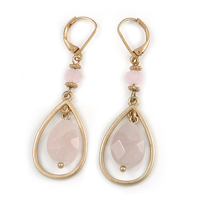 Vintage Inspired Teardrop Earrings with Pink Beads Leverback Closure In Matt Gold Finish - 55mm L