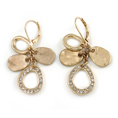 Vintage Inspired Teardrop Crystal, Hammered Drop Earrings In Matte Gold Finish with Leverback Clasp - 45mm L