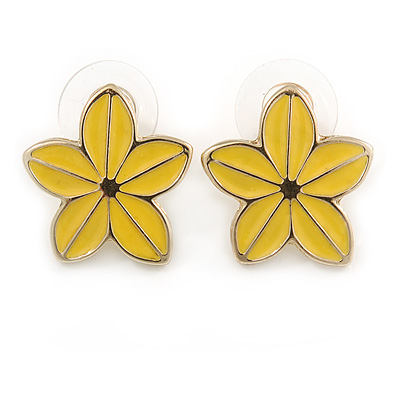 Yellow Enamel Daisy Floral Stud Earrings In Gold Tone Metal - 20mm D