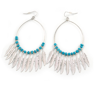 Boheme Feather Charms and Ceramic Turquoise Coloured Bead Hoop Earrings In Silver Tone  - 95mm Long