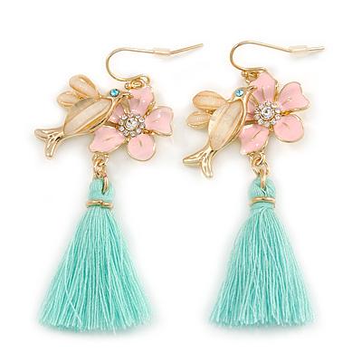 Romantic Pink Enamel Daisy, Bird, Mint Tassel Drop Earrings In Gold Tone - 60mm L
