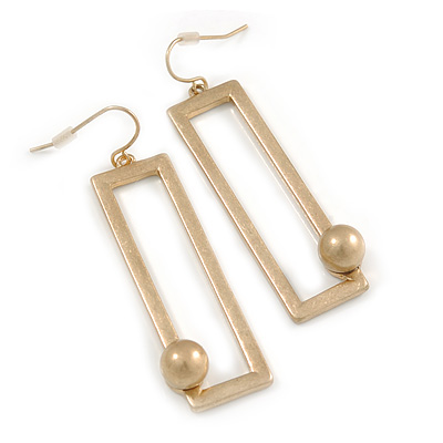 Geometric Open Square With Ball Drop Earrings In Matte Gold Tone - 60mm L