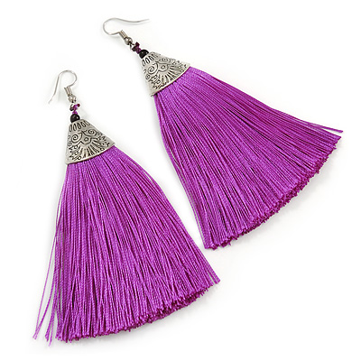 Long Purple Cotton Tassel Earring In Silver Tone - 10cm Long