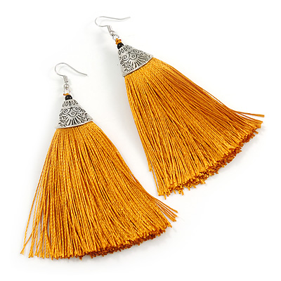 Long Yellow Gold Cotton Tassel Earring In Silver Tone - 10cm Long