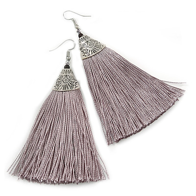 Long Metallic Grey Cotton Tassel Earring In Silver Tone - 10cm Long