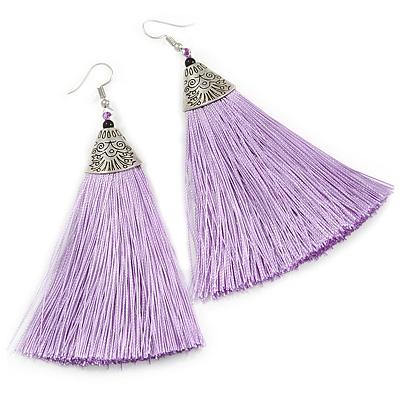 Long Lavender Cotton Tassel Earring In Silver Tone - 10cm Long