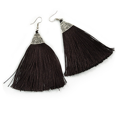 Long Black Cotton Tassel Earring In Silver Tone - 10cm Long