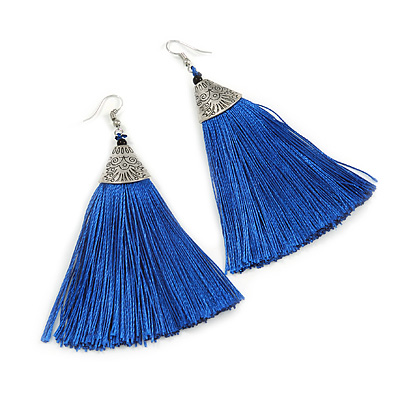 Long Blue Cotton Tassel Earring In Silver Tone - 10cm Long
