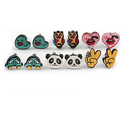Children's/ Teen's / Kid's Acrylic Car, Bear, Heart, Owl, Duck, Peace Stud Earrings Set