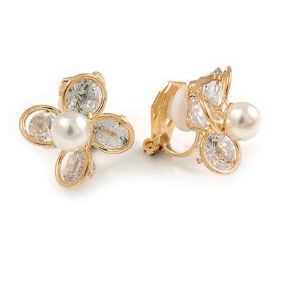 Delicate CZ, Faux Pearl Flower Clip On Earrings In Gold Tone -17mm D