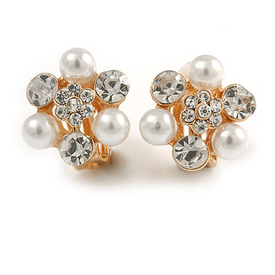 Crystal, Faux Pearl Flower Clip On Earrings In Gold Tone - 20mm D - main view