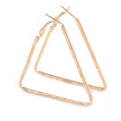 Gold Tone Etched Triangular Hoop Earrings - 50mm Long