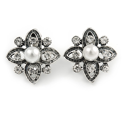 Vintage Inspired Clear Crystal Faux Pearl Floral Clip On Earrings In Aged Silver Tone - 27mm Tall