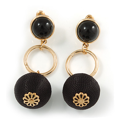 Black Silk Cord Ball Drop Earrings In Gold Tone Metal - 60mm Long