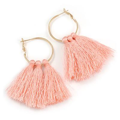 Trendy Peach Pink Cotton Tassel Gold Tone Hoop Earrings - 65mm Long