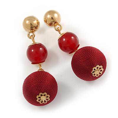 Ox Blood/ Burgundy Double Ball Drop Earrings In Gold Tone - 55mm L