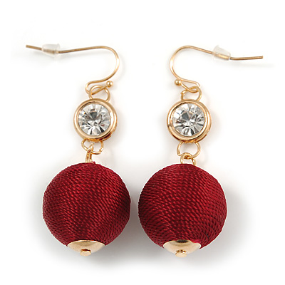 Burgundy Red Silk Cord Ball with Clear Crystal Drop Earrings In Gold Tone - 50mm L
