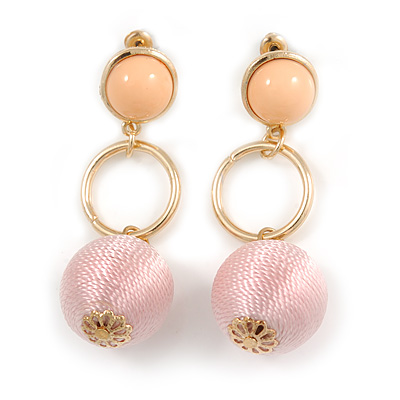 Pastel Pink Silk Cord Ball Drop Earrings In Gold Tone Metal - 60mm Long