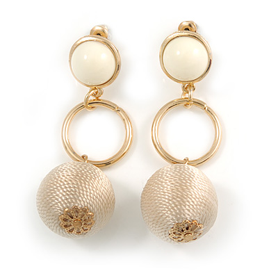 Pastel Caramel Silk Cord Ball Drop Earrings In Gold Tone Metal - 60mm Long