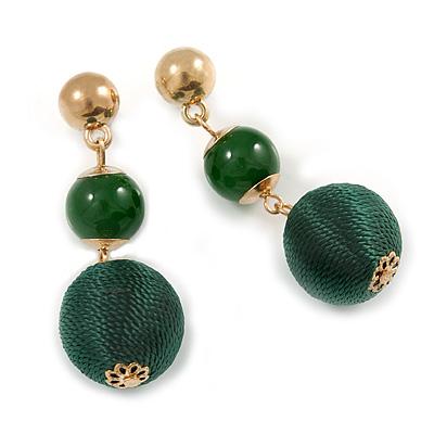 Green Double Ball Drop Earrings In Gold Tone - 55mm L