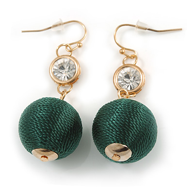 Green Silk Cord Ball with Clear Crystal Drop Earrings In Gold Tone - 50mm L