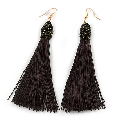 Long Black Cotton Tassel Drop Earrings with Gold Tone Hook - 11.5cm L