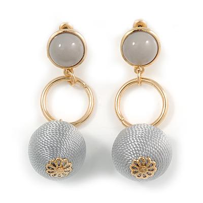 Metallic Grey Silk Cord Ball Drop Earrings In Gold Tone Metal - 60mm Long