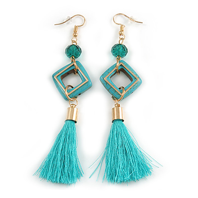 Malachite Green Tassel Drop Earrings In Gold Tone Metal - 10.5cm Long