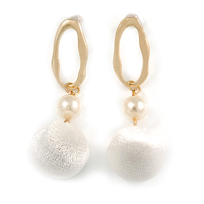 Trendy White Faux Velour Ball with Gold Tone Oval Drop Earrings - 60mm L